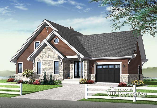 Plan de chalet ou maison de style craftsman avec garage for Garage plan de campagne ouvert dimanche