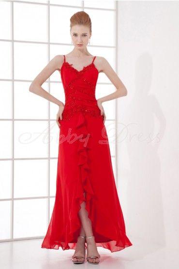 V-neck Spaghetti Straps Beaded Asymmetrical Pleat Ruffles Lace Chiffon Dress