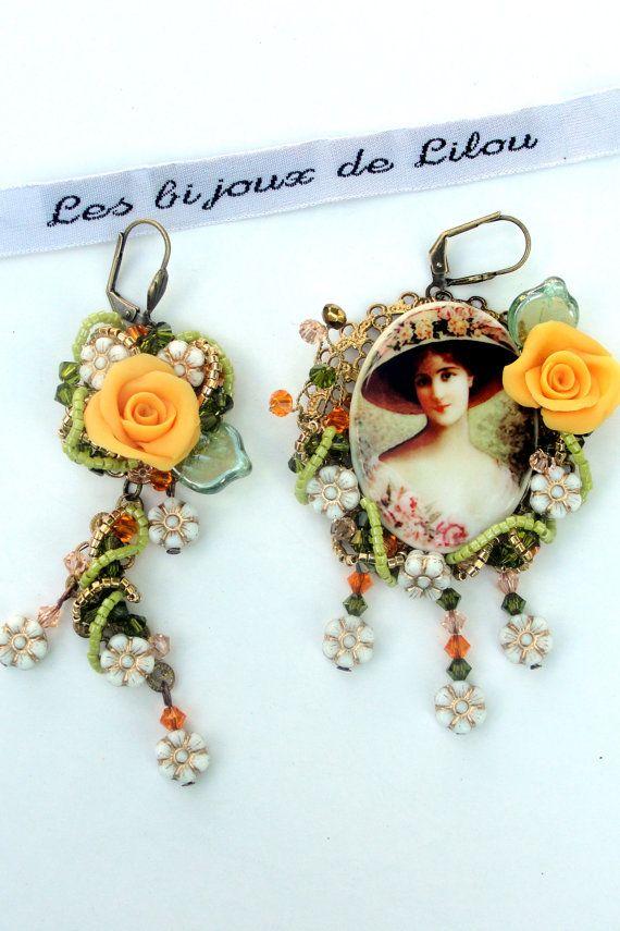 Boucles d'oreilles pièce unique dissociées  Belle par Bijouxlilou, €88,00