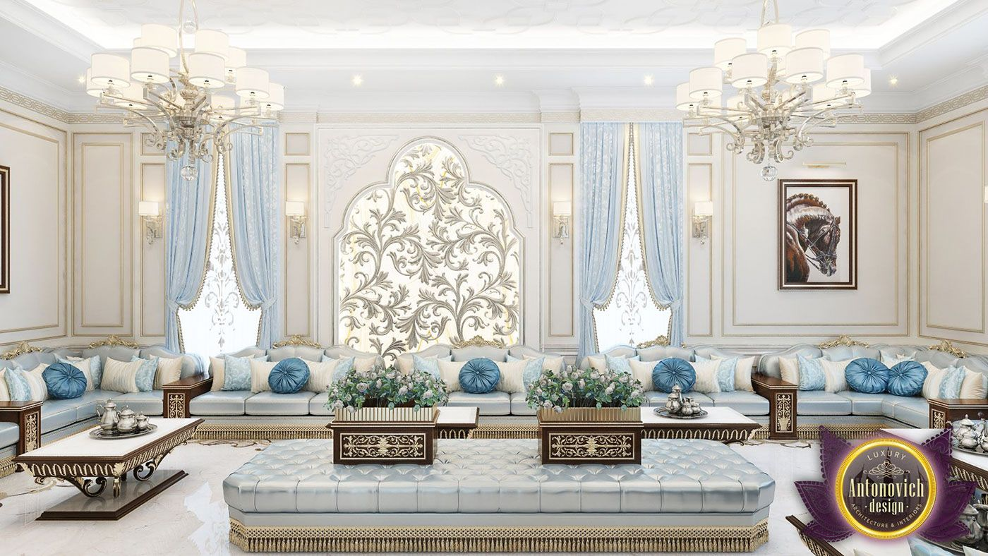 A delightful and charming living room interior combines Arab style