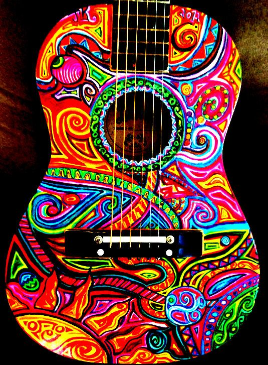 Super cool hand painted guitar art http www for Super cool drawings