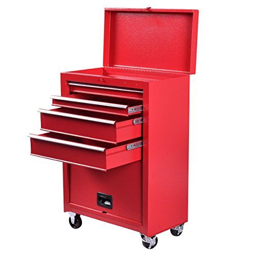 Goplus 22-Inch Steel Chest Roller Rolling Tool Chest Box On