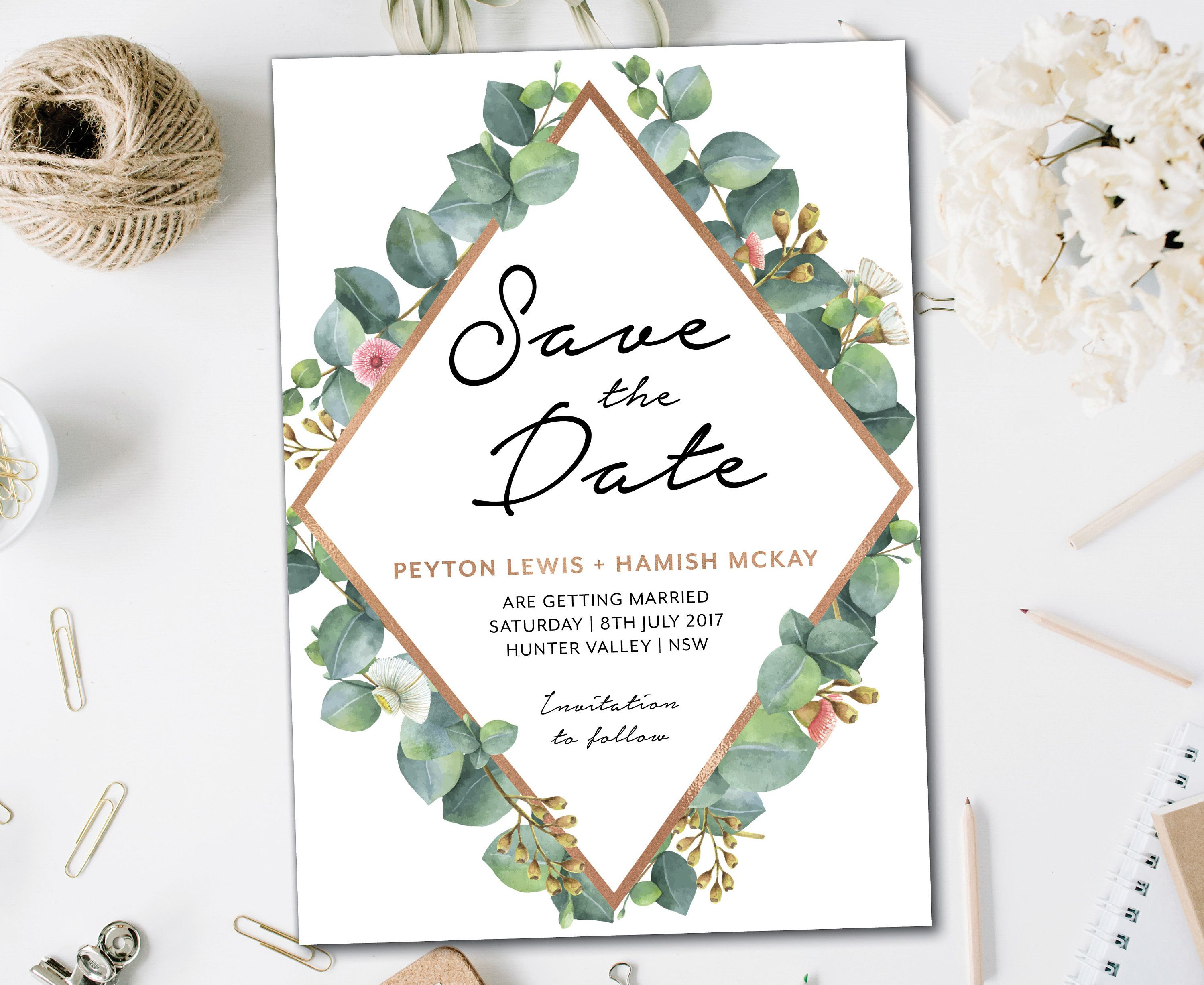 White greenery geometric save the date rose gold and greenery save