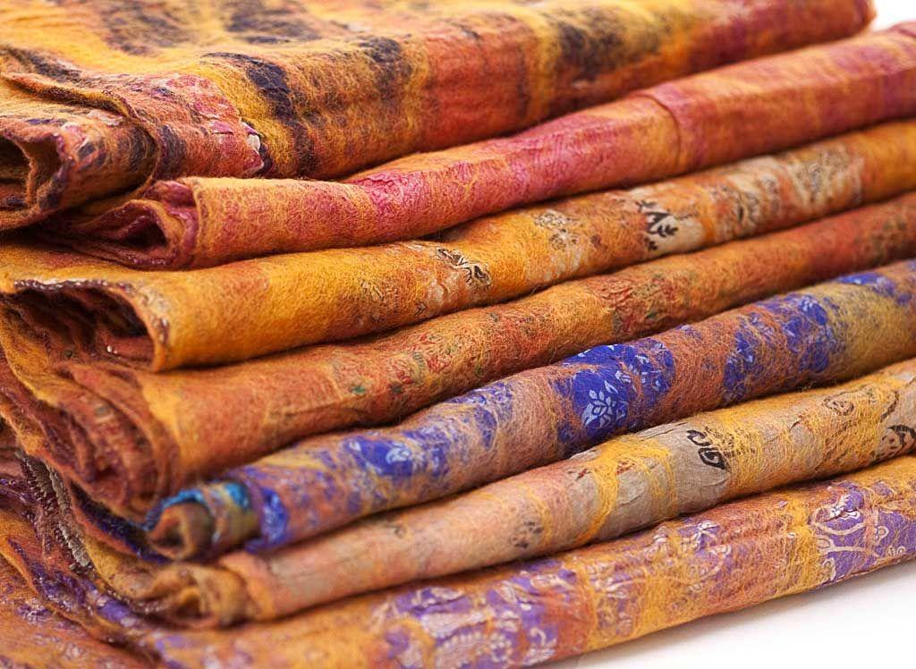 MarigoldRust vintage felt+silk sari scarf from www.theredsari.com