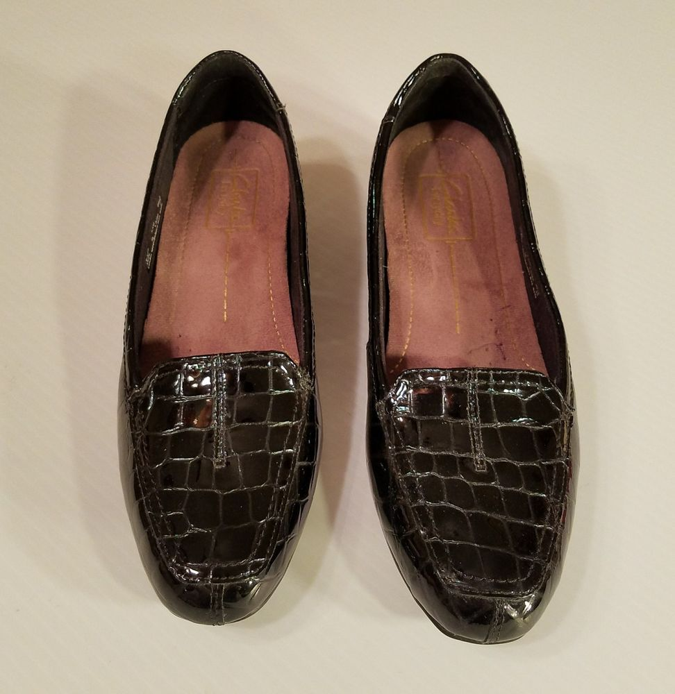 7ebbfb1ac1a Clarks Everyday Women s Black Patent Faux Croc Loafers Leather Shoes Size  7.5M  Clarks  LoafersMoccasins