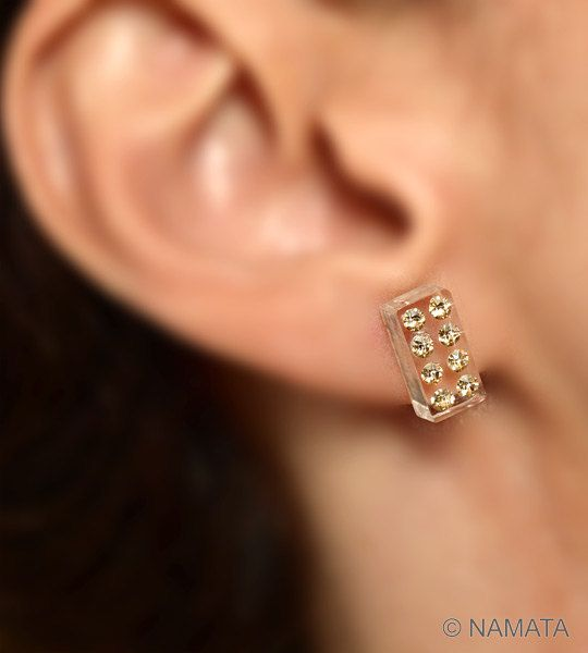 Clear acrylic rectangle 14K gold filled post earrings ...