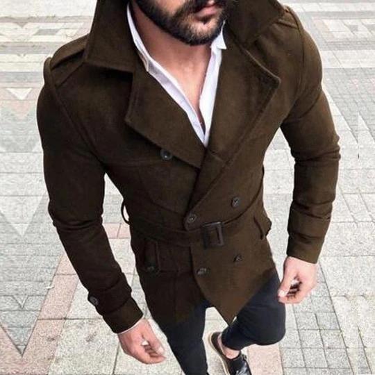 Jacket Breasted Winter Double Long Overcoat Mens Coat Trench Outwear Wool Warm
