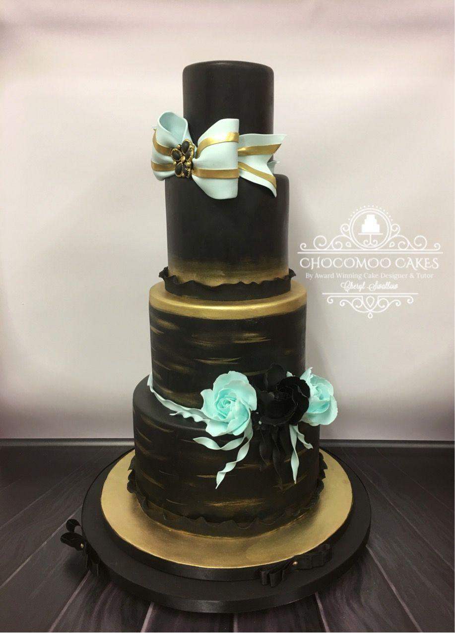 Black turquoise wedding