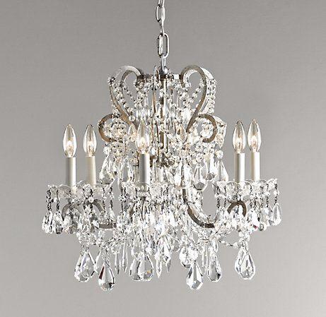 Manor court crystal 6 arm chandelier ceiling restoration hardware baby child
