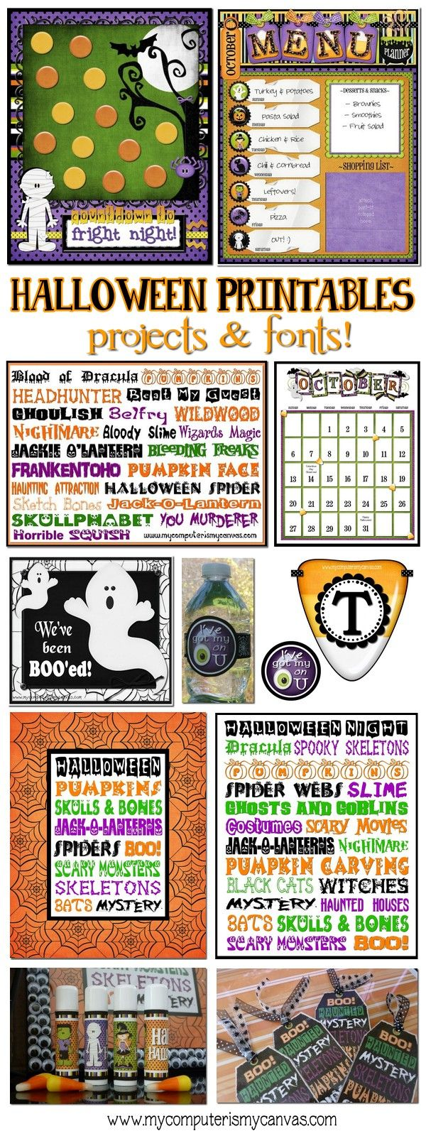 Halloween Printables, Projects & Fonts