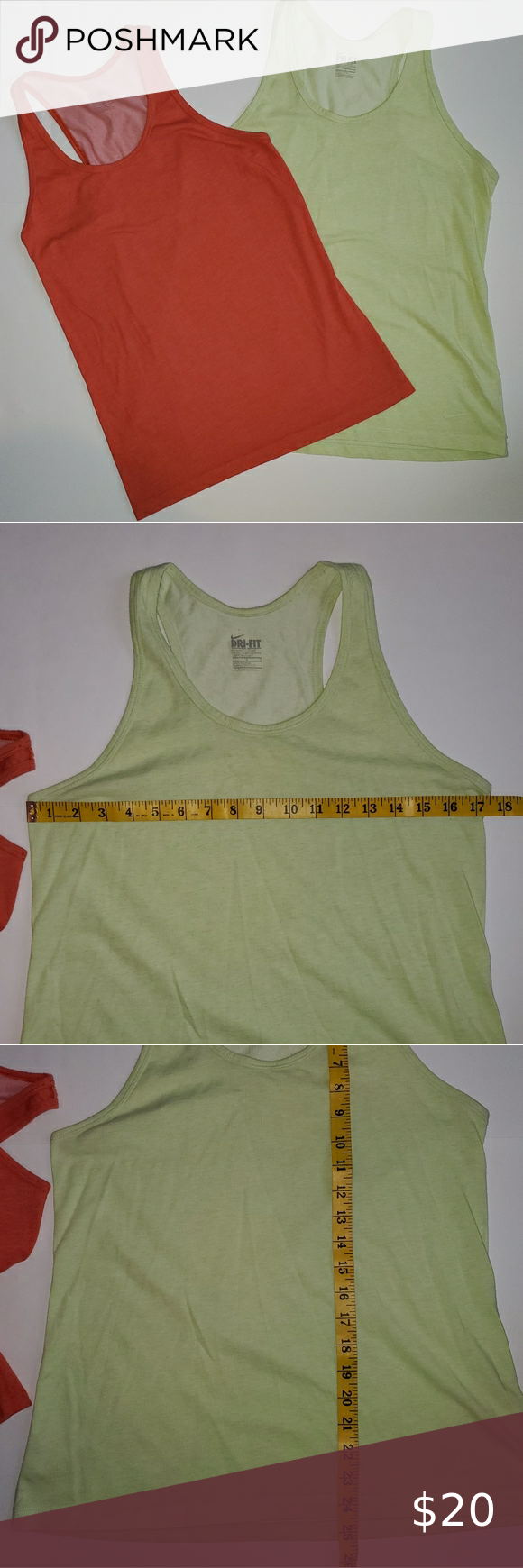 Nike dry fit tank bundle Set of two Nike Dry fit tank tops.   Orange and Green. Actual color may vary with the lighting and camera.    Great used condition.   Both are size Large.  Smoke free home.  #0202 Nike Tops