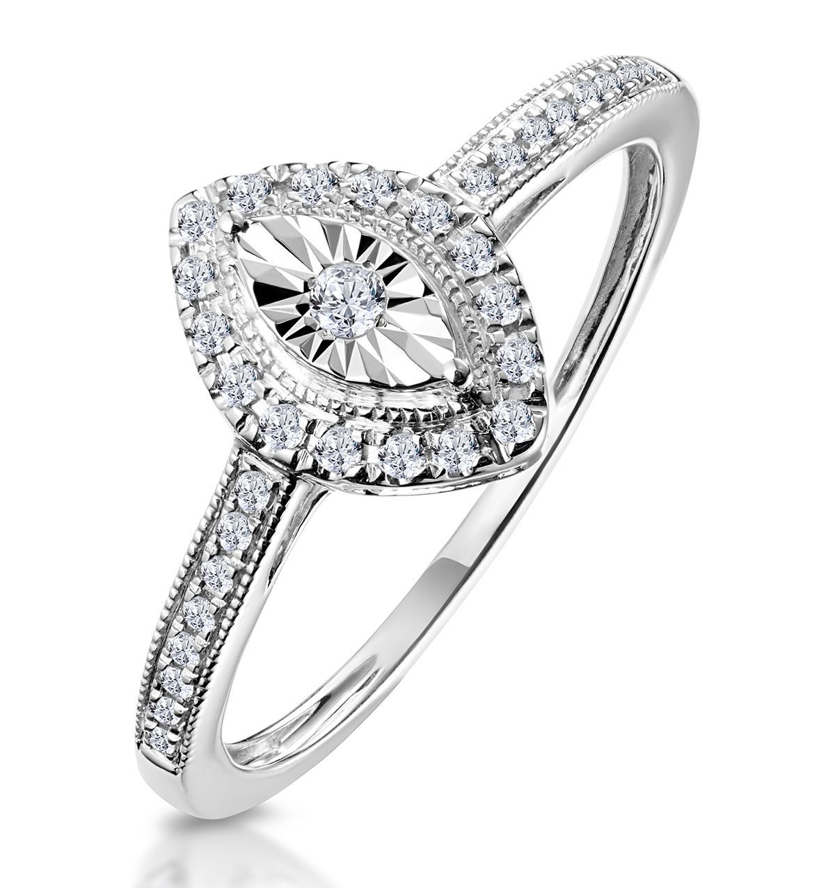 Masami marquise diamond engagement ring halo pave set in k white