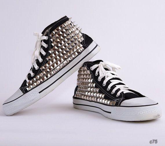 Studded Keds / Black Spiked Canvas Sneakers / Black High Keds / size us men 8 , eur  41.5