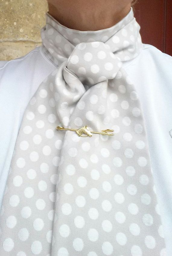 Dressage Stock Tie : dressage, stock, Classic, Stock, Dressage., Taupe, Ivory/white, Polka, Hunting, Attire,, Riding, Outfit