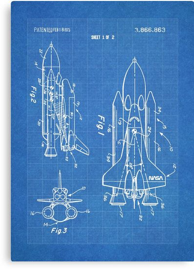 Nasa space shuttle invention patent art blueprint tags nasa nasa space shuttle invention patent art blueprint canvas print by steve chambers malvernweather Images