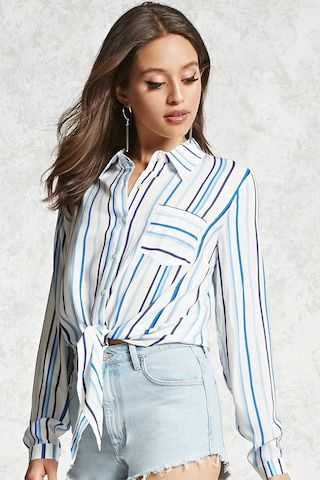 Tie-Front Striped Blouse