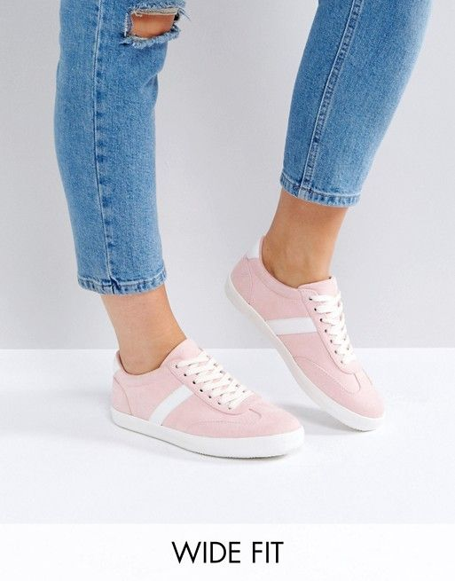 new styles 0650c 9ac6f ASOS DELPHINE Wide Fit Stripe Lace Up Sneakers