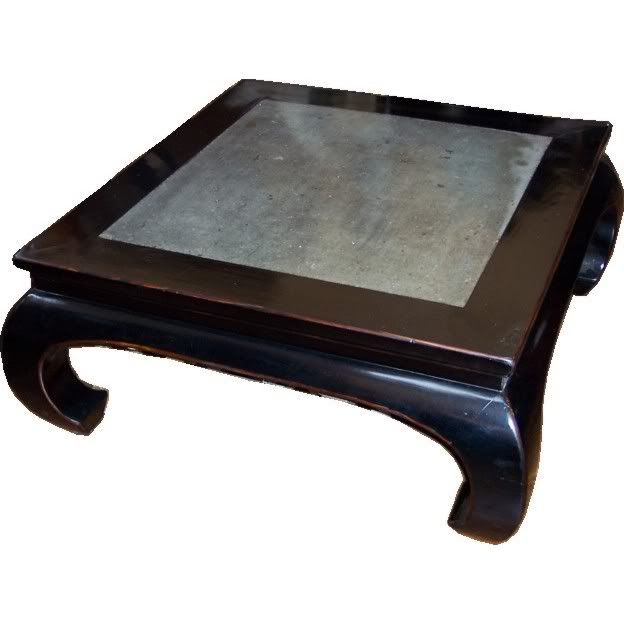 Black Stone Inlay Opium Coffee Table