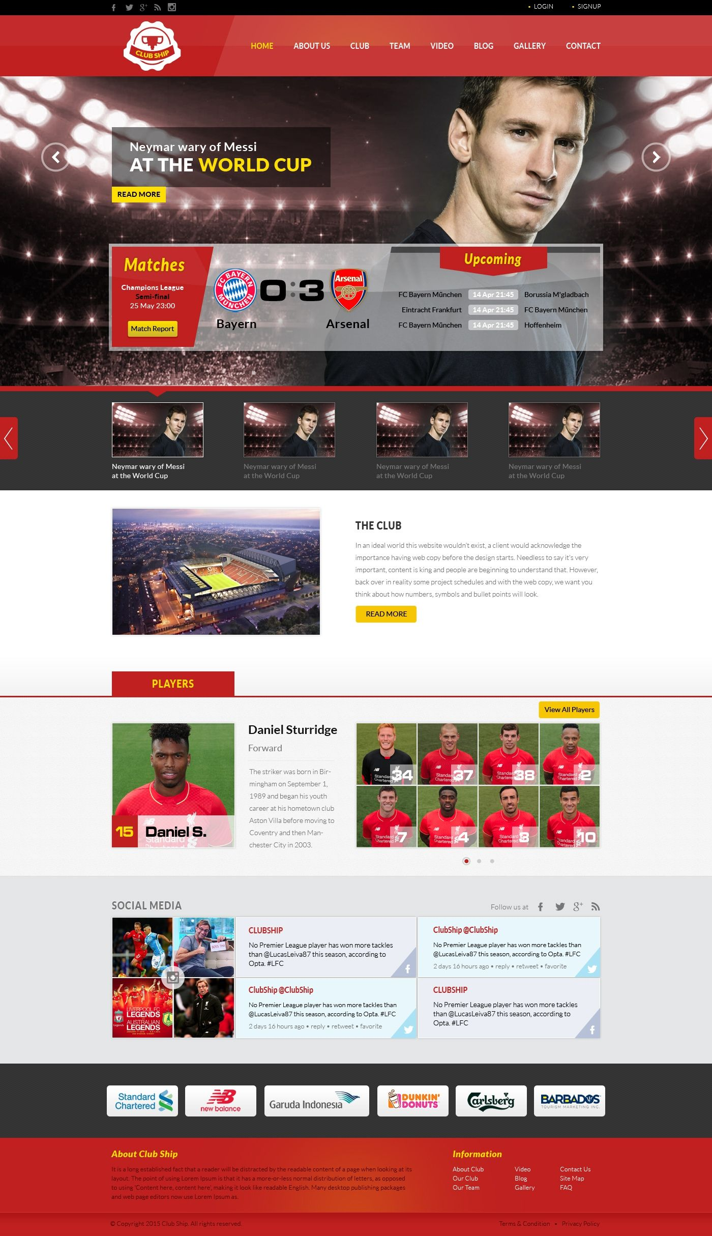 Beautiful Football Soccer Club Homepage Design