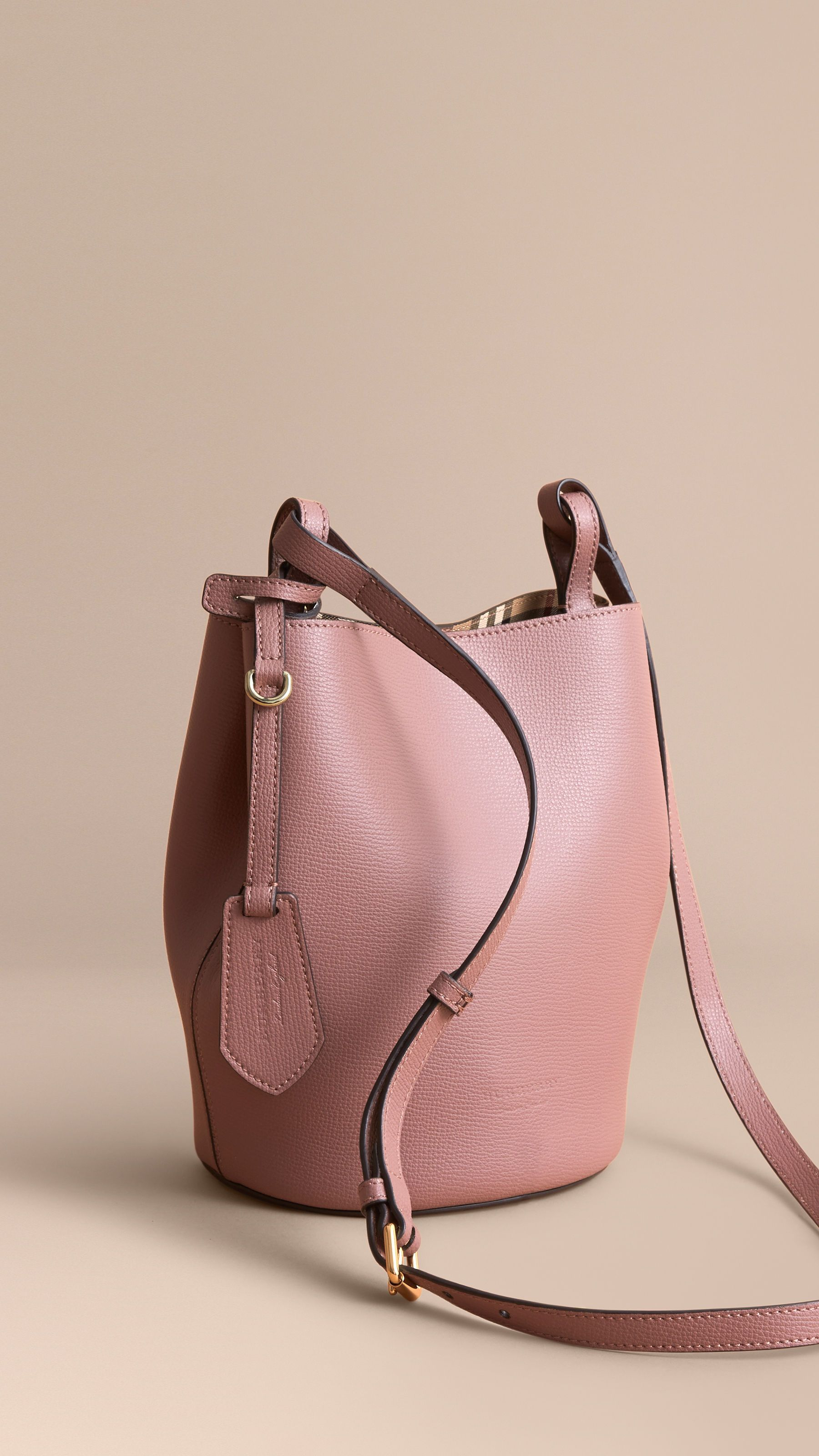 01b1d2b0de Leather and Haymarket Check Crossbody Bucket Bag Light Elderberry | Burberry  Canada