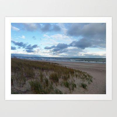 Cloudy Lake Michigan Art Print by Carolyn Jones $14.56