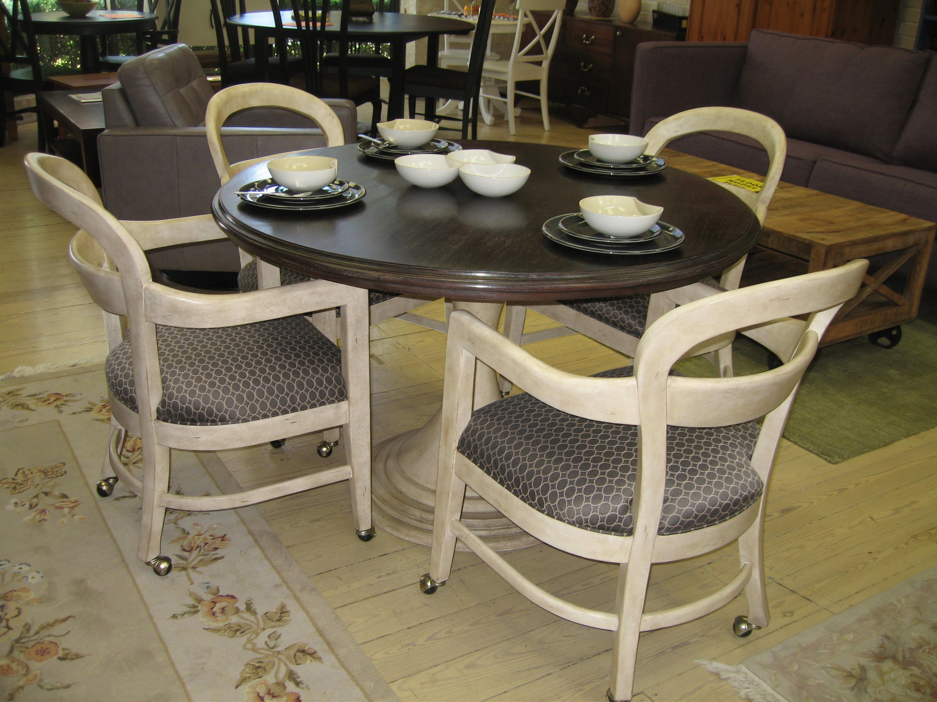Cute Dining Room Chair With Casters And Round Wooden Dining Table