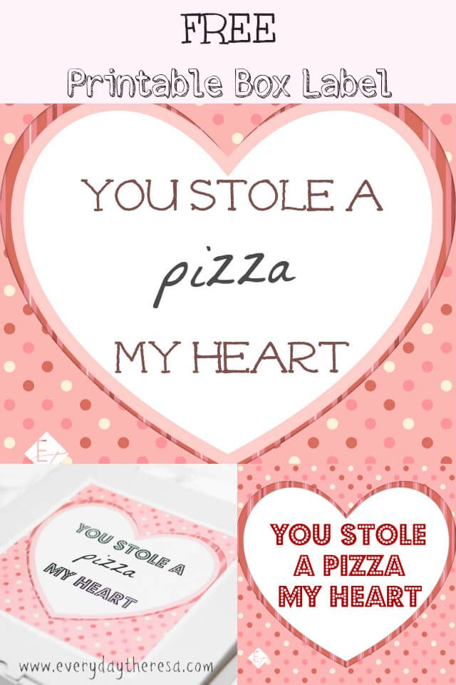 photo relating to Printable Heart Shaped Labels identified as Valentines Working day pizza box structure label. Great for the