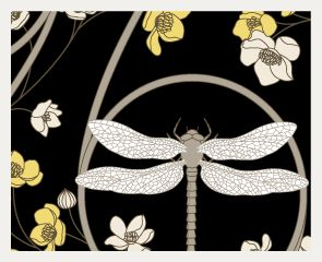 Judit Gueth Rugs and Wallpaper - Dragonfly Yellow & Black Wallpaper