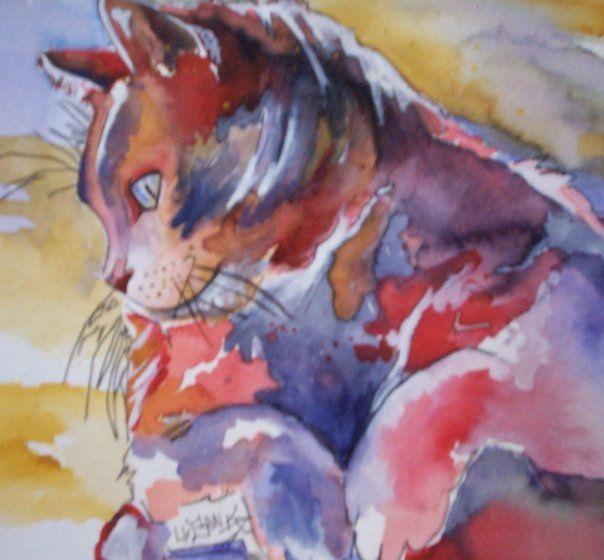 urban watercolor cat