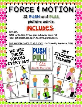 FORCE and MOTION: Push and Pull Cards for Games/Sorting | Force ...