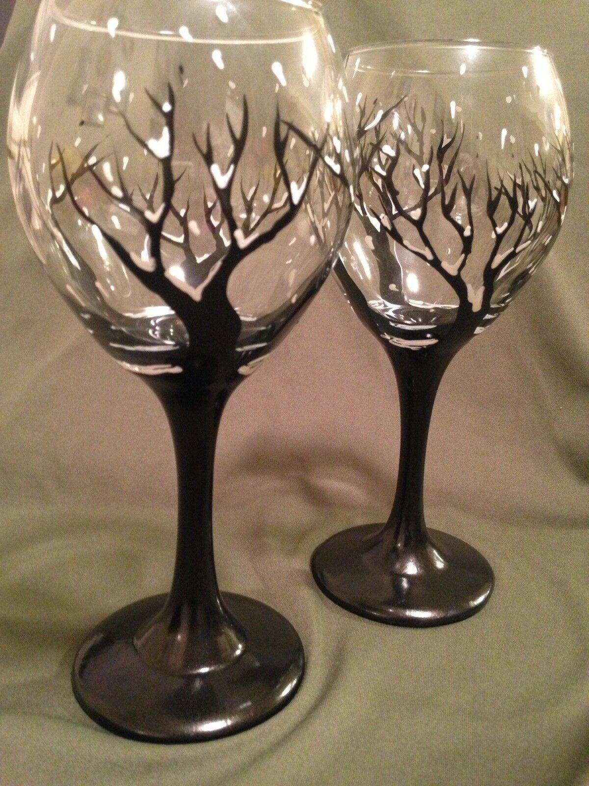 Set Of 2 Hand Painted Wine Glass Winter Trees Dishwasher Save In Top Rack Gift Wine Gla Hand Painted Wine Glass Painted Wine Glass Hand Painted Wine Glasses
