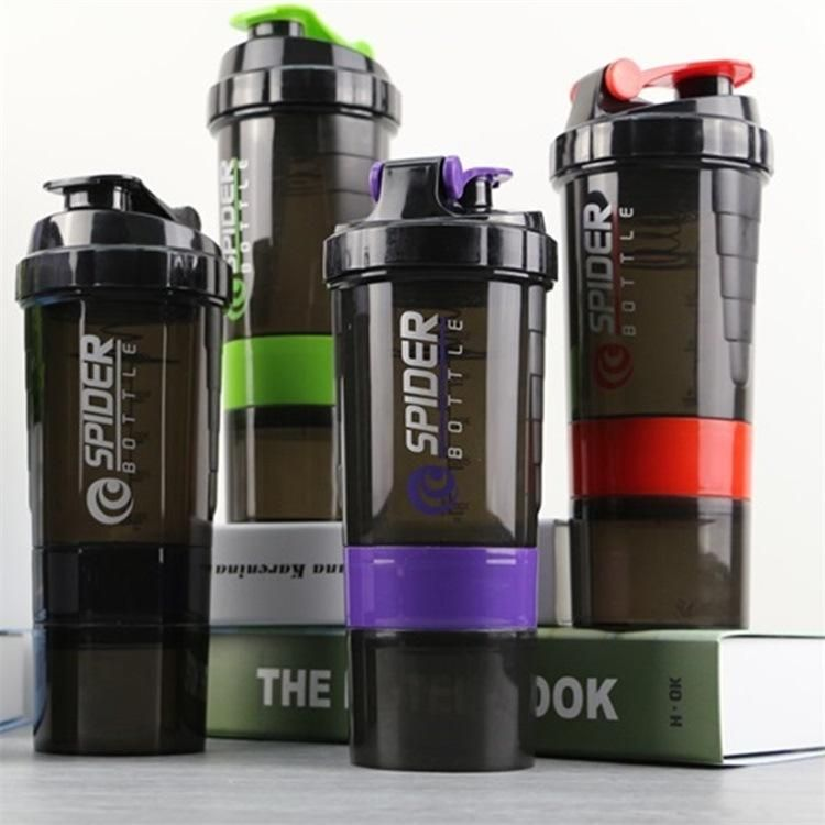 Shaker Bottle Storage 2 pack Protein Shaker Bottle Non slip Fitness Sports Water Bottle Leak Proof Shake Bottle Mixer- Protein Powder 16 oz Shakerbottle 3 Layer Twist Off Cups With Pill Tray