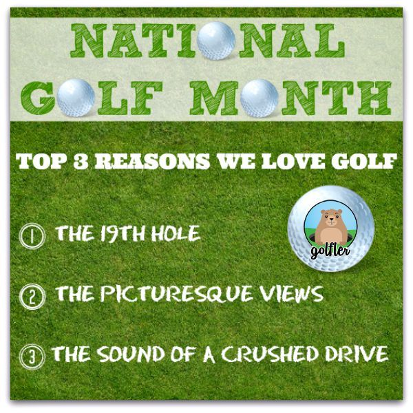 Happy National Golf Month! Golf junkies! August is National Golf Month - so get on the golf course & celebrate accordingly! We'll be waiting for you on the 19th! Cheers! #Golf #Facts #Holidays