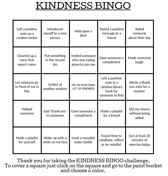 Acts of Kindness Bingo from Andy Milne | School | Friend