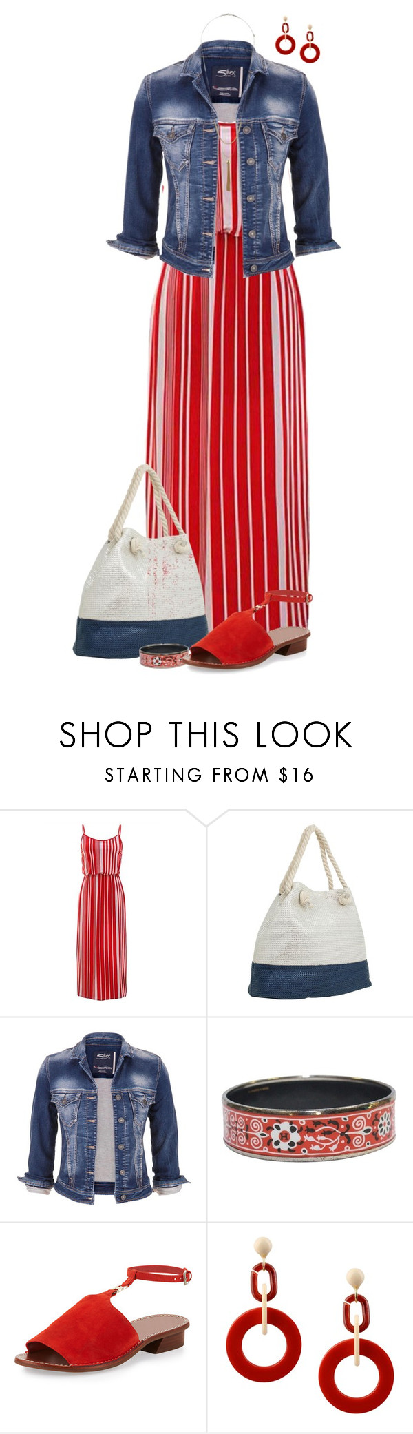 """Red, White and Blue"" by derniers ❤ liked on Polyvore featuring Magid, maurices, Hermès, Tory Burch, Dettagli and Topshop"