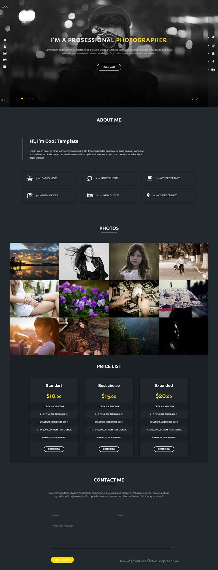 Rejento Photographer - Personal & Portfolio One Page Html Template ...