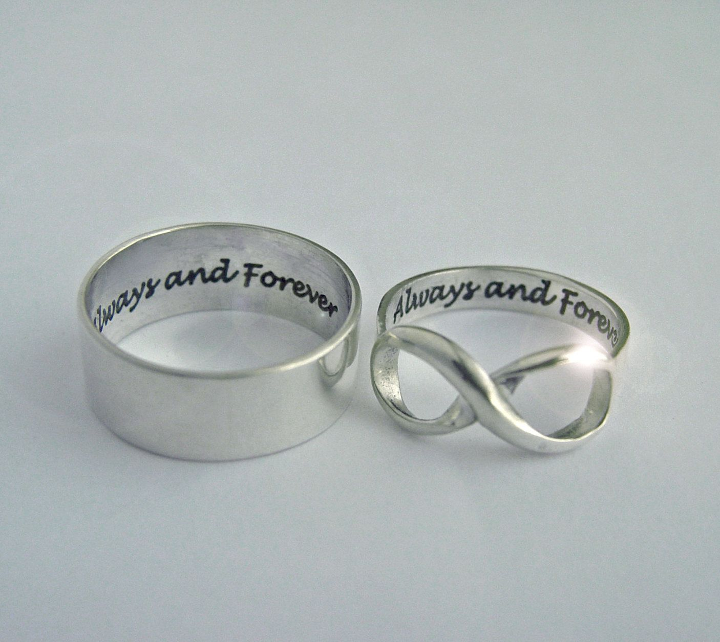 His and Hers, Infinity Rings, two custom rings personalized ...