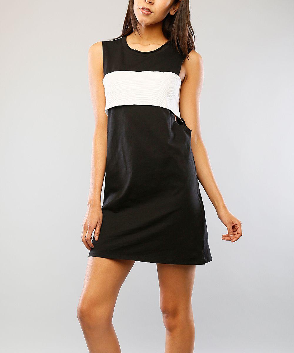 Black & White Color Block Cutout Dress