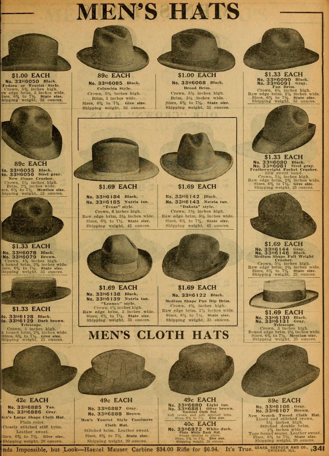 a51056c1 Sears Catalog no. 124. Men's Hats. | 1912 Fashions in 2019 | Hats ...