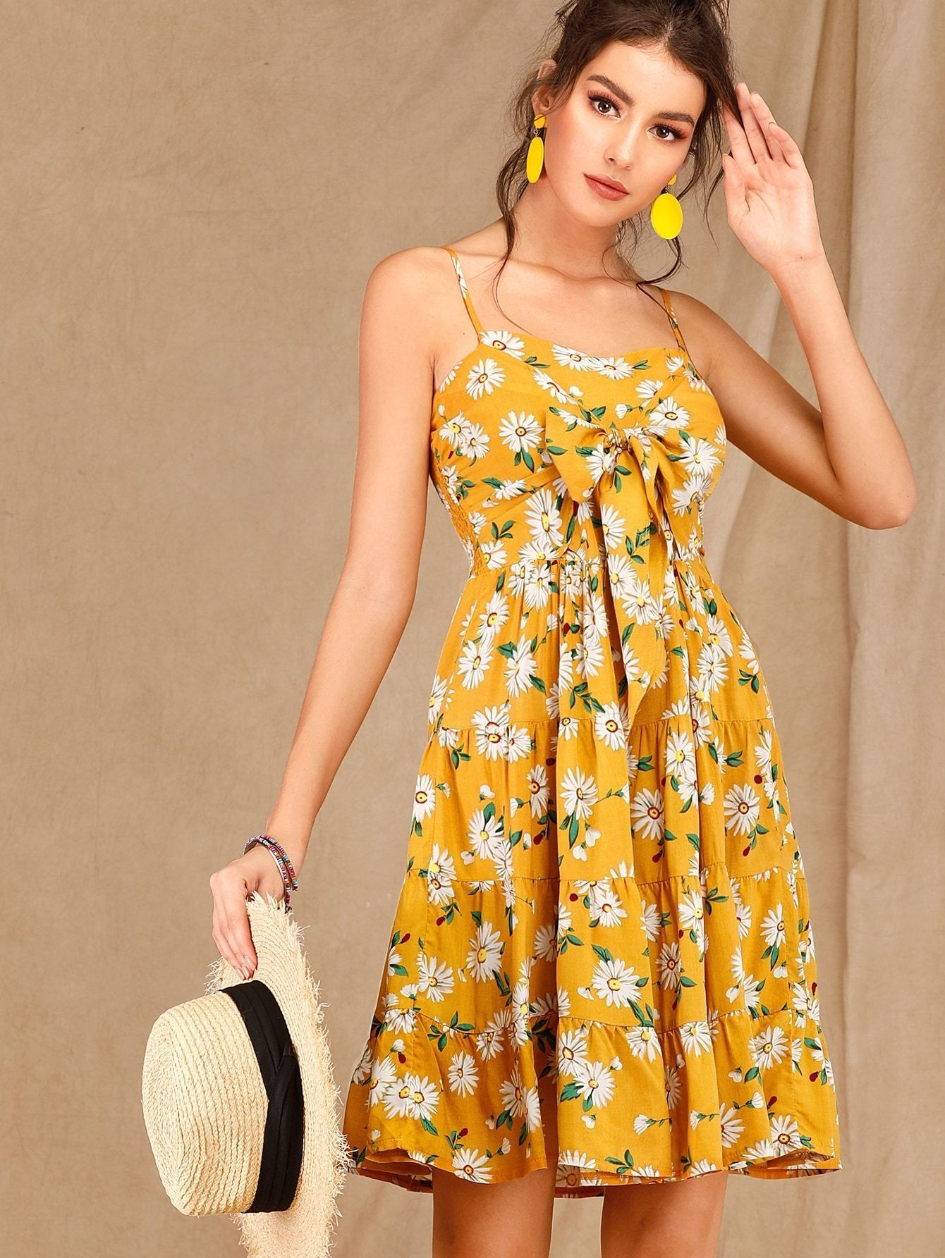 Daisy Floral Tie Front Shirred Slip Sundress Yellow Sundress Yellow Dress Summer Sundress Outfit [ 1785 x 1340 Pixel ]