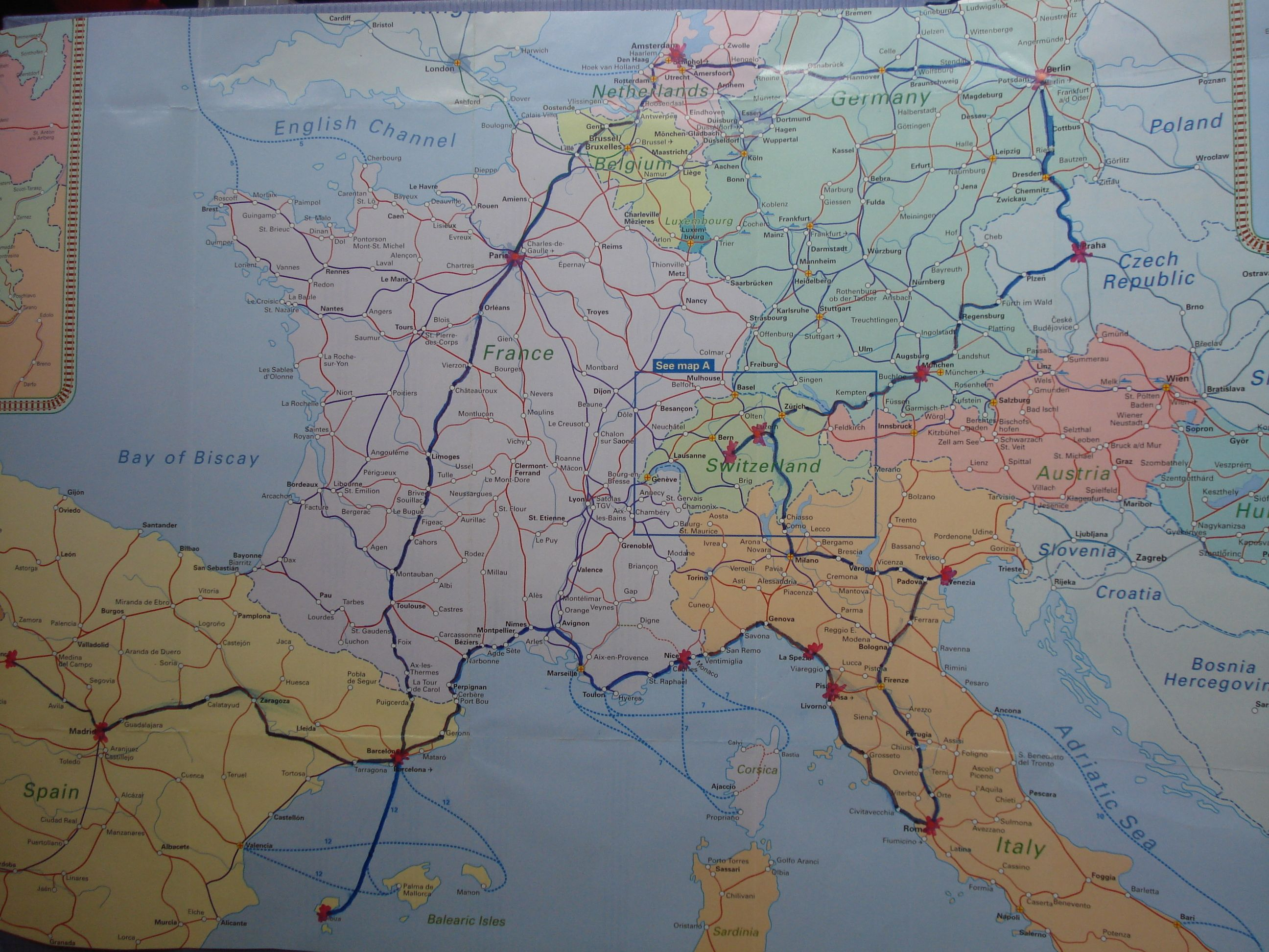 this is the backpacking route i took through europe. 7 countries and