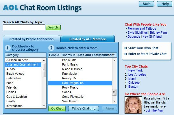 AOL chat rooms listing | The internet in the 1990s | Pinterest | 1990s