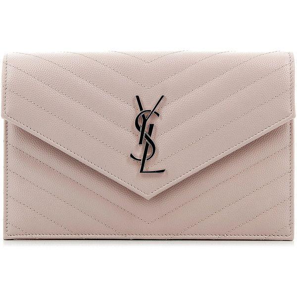 Saint Laurent Monogramme Envelope Wallet (2.960 BRL) ❤ liked on Polyvore featuring bags, wallets, brown wallet, logo bags, yves saint laurent, yves saint laurent wallet and yves saint laurent bags