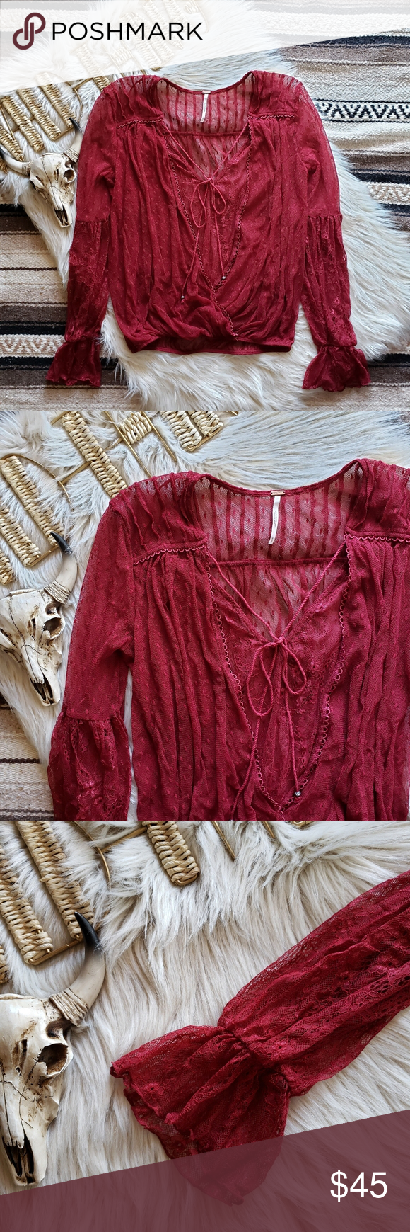 Free People Far Away Lace Wrap Top in 2020 Lace wrap