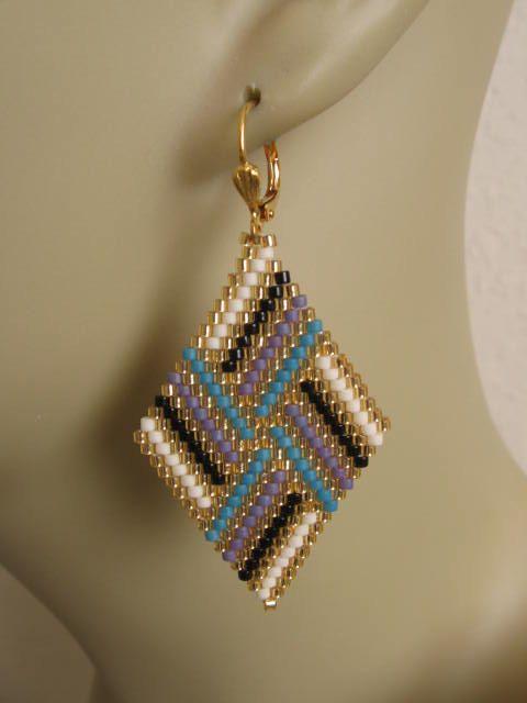 Cordón tejido pendientes de diamante Copyright por pattimacs