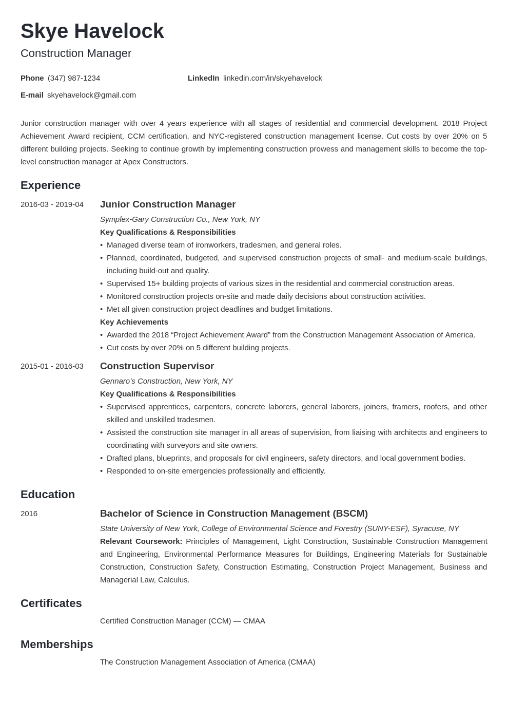 Construction Manager Resume Example Template Minimo Resume Examples Manager Resume Job Resume Examples