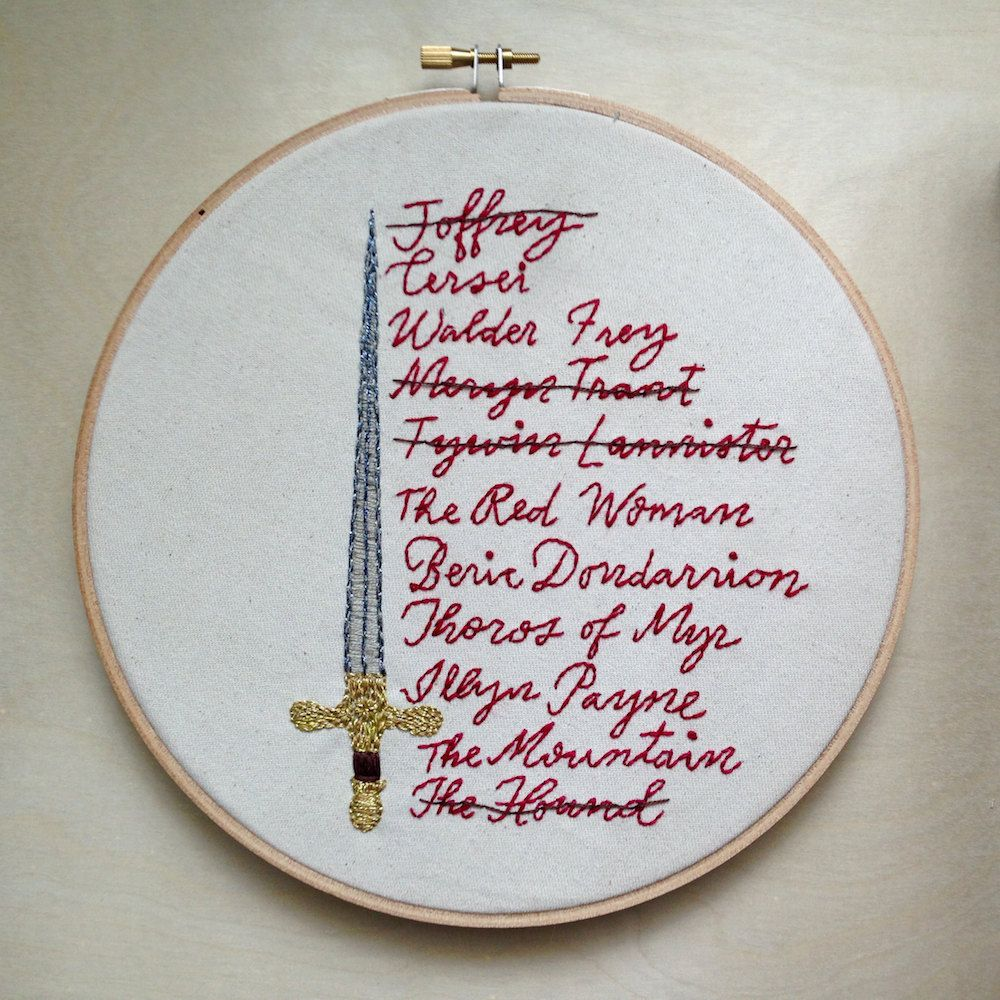 Arya\'s List, Game of Thrones, Embroidery Designs, Arya Stark ...