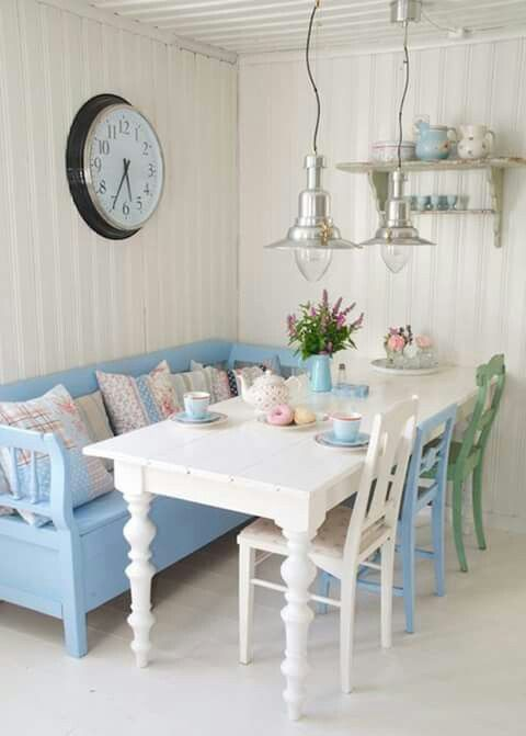 White wall, painted wood, and pattern are three of my favourite
