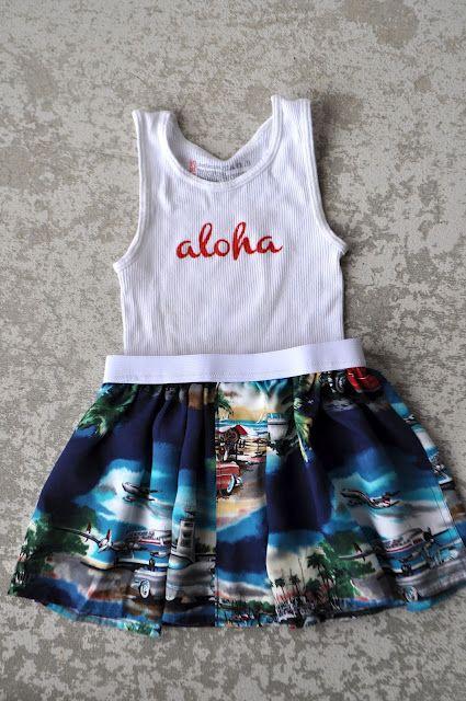 263eba127f90 refashion hawaiian shirt into girls skirt (with personalized basic t-shirt)