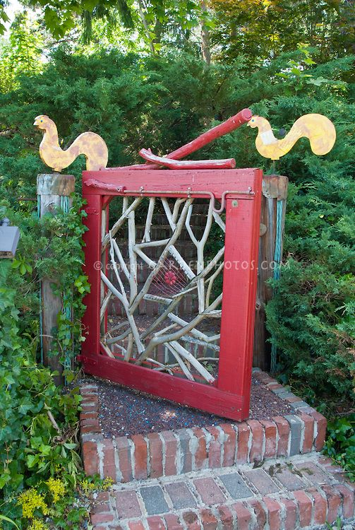 Captivating Garden Gate Entry, Whimsical Fun Homemade Artistic With Steps Of Brick, And  Bird Ornaments